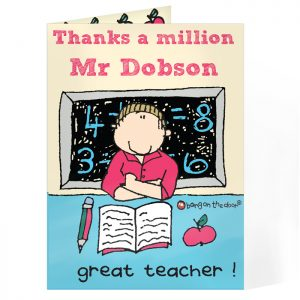 Personalised Thank You Card for Male Teachers - Bang On The Door