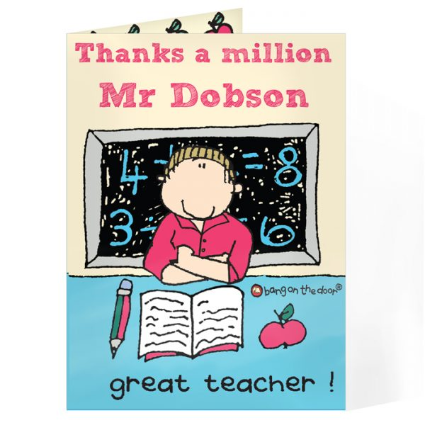 Personalised Thank You Card for Male Teachers – Bang On The Door