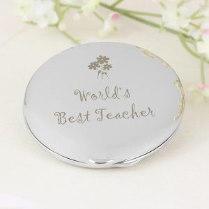 End of Year Teacher Gift Ideas - World's Best Teacher Compact Mirror