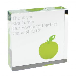 Teacher Gift Ideas - Large Crystal Token Personalised From Your Child.