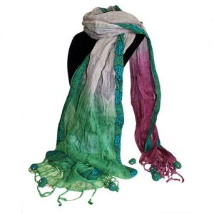 Pure Linen Decor Scarf in Lilac and Turquoise