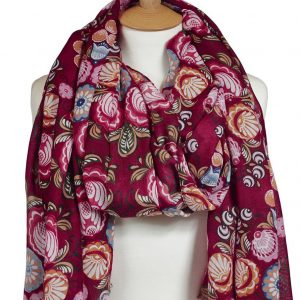 Floral Scarf Shawl with Stunning Deep Red Print