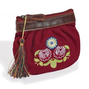 Folk Women's Purse in Deep Burgundy