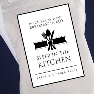 Breakfast In Bed Sleep In The Kitchen Personalised Apron