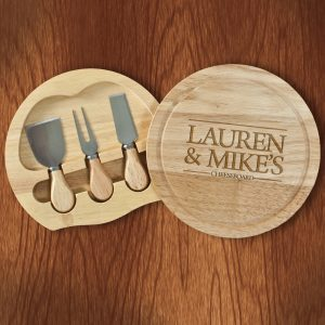 Couples Cheese Board - Beautifully Engraved Board & Knives Set