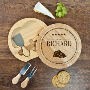 Cheese Board Gift Set - Personalised Hevea Wood Set