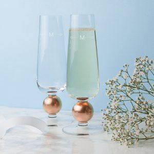Curl Monogram Rose Gold LSA Champagne Glasses