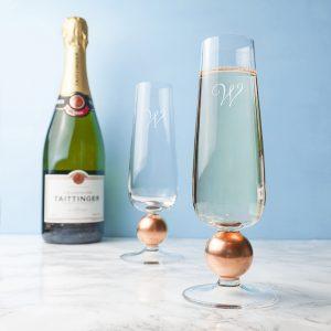 LSA Champagne Flutes - Script Font