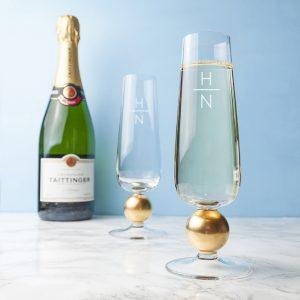 Vertical Monogram - LSA Champagne Flutes
