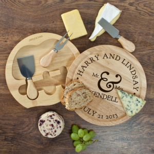 Cheese Board and Knife Set - Personalised Wooden Set for Happy Couples
