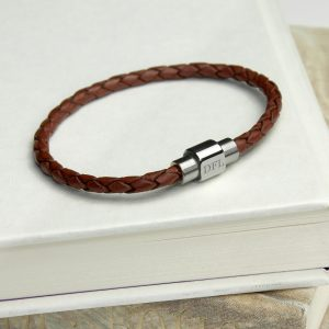 Mens Woven Leather Bracelet Initialled Clasp - Burnt Sienna
