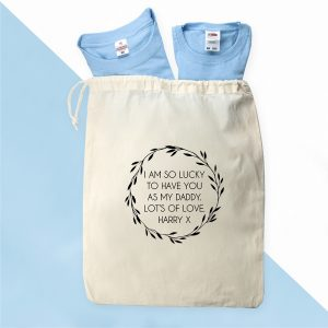 Personalised Bag and Matching Daddy and Me T-Shirts
