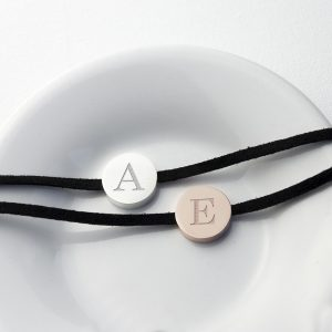 Personalised Initial Bracelet - Soft Suede and Rose Gold Tag