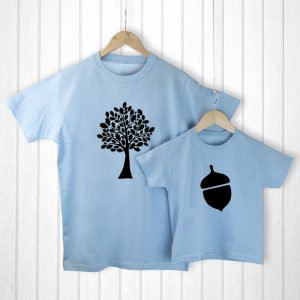 Father and Daughter Gifts - Oak Tree and Little Acorn Matching T-Shirts