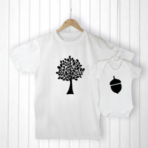 Personalised New Baby Gifts - Oak Tree and Little Acorn Matching Set
