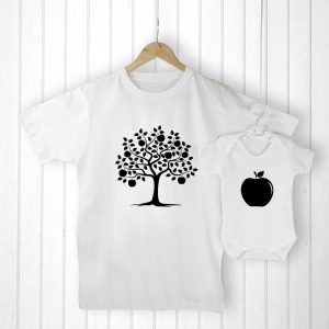 Father and Baby Gift - Adorable Apple Tree T-Shirt & Apple Baby Grow