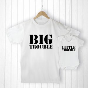 Gifts from Baby to Dad - Adorable Big Trouble and Little Trouble Set