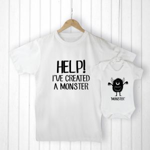 Gifts From Baby To Dad - Personalised Little Monster Daddy and Baby Set