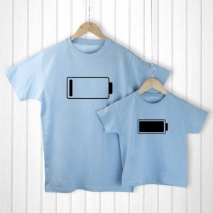 Fathers Day Presents - Original and Comical Low Battery Matching T-Shirts