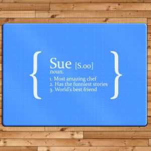 Personalised Glass Chopping Board - Blue