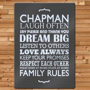 Glass Chopping Board - Personalised Family Rules - Dark Grey
