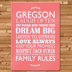 Glass Chopping Board - Personalised Family Rules Chopping Board