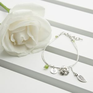 Silver and Peridot Charm Bracelet