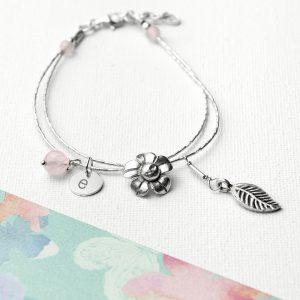 Rose Quartz Silver Friendship Bracelet