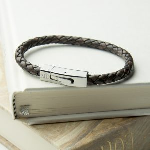 Personalised Mens Bracelet - Woven Leather with Tube Clasp