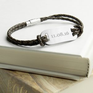 Personalised Brown Leather Mens Bracelet - Stylish and Personal
