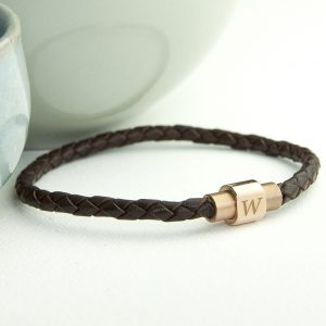 Classy Mens Personalised Gift - Woven Leather Bracelet