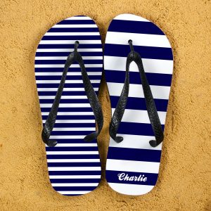 Customised Flip Flops - Navy & White, Mismatched and Personal