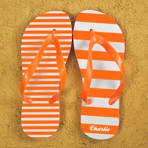 Printed Flip Flops - Orange & White, Mismatched and Personalised