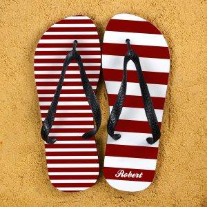 Personalised Flip Flops - Red & White, Mismatched and Custom Printed