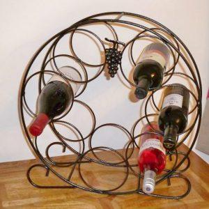 Circular Wine Rack - Solid Steel with Antique Black Finish. Handmade UK.