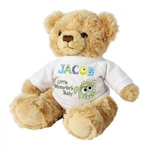 Personalised Soft Toy - Teddy Bear Personalised with Little Monster Jumper