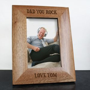 Wooden Personalised Photo Frame - Dad you Rock Solid Oak Frame