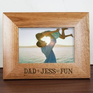 Personalised Dad Photo Frame - Solid Oak Wooden Frame