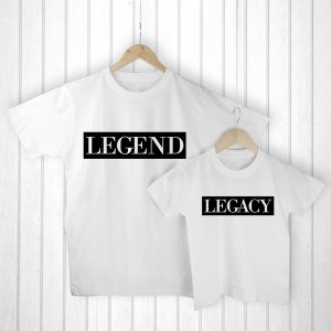 Personalised Father Child Gifts - Matching Legend & Legacy T-Shirt Set