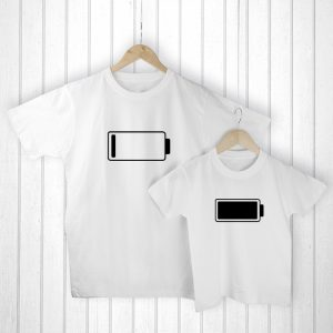 For Dads from Little Kids - Original and Comical Low Battery Matching T-Shirts