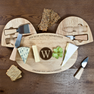Engraved Cheese Board - Personalised Board & Knives Set