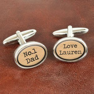 Cufflinks Personalised - Vintage Style No 1 Dad Cufflinks
