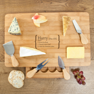 Cheese Board with Knives - Large Personalised Board & Knives
