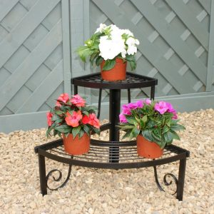 Corner Plant Stand - Handmade Two Tier Ornate Steel Stand