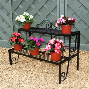 Tiered Plant Stand - Handmade Two Tier Antique Finish Steel