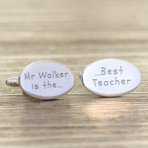 Best Teacher Cufflinks - Quality Silver Plated and Personalised