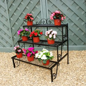 3 Tier Plant Stand - Antique Finish Three Tiered Plant Pot Stand