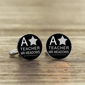 Cufflinks For Teachers - Silver Plated A Star Teachers Cufflinks