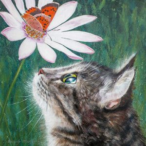 Art Greeting Cards - Small Copper and Tabby Cat by Beverley Madley