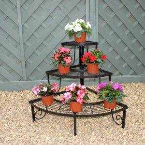 Plant Pot Stand - Ornate Three Tier Solid Steel Stand